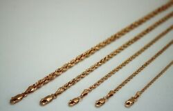 10k Solid Rose Gold Rope Chain Necklace 1.5mm 6mm 16 30 For Men Women