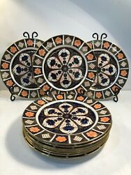 12 Royal Crown Derby Old Imari Dinner Plates Early 20th C. Salad/bread Available