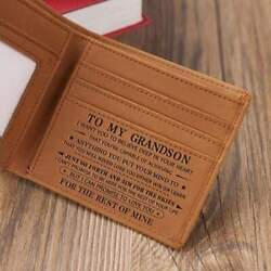 To Son Grandson Customized Engraved Leather Wallet for Birthday Christmas Gift $26.95