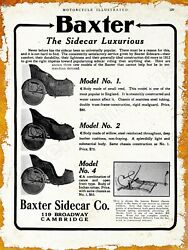 1913 Baxter Motorcycle Sidecar Co. New Metal Sign: Cambridge MA