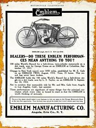 1913 Emblem Mfg. Co. Motorcycle New Metal Sign: Angola Erie County New York