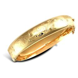 9ct Yellow Gold Victorian Design Engraved Bangle Box Snap Fitting Safety Chain