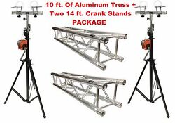 Aluminum Truss Portable 10and039 Lighting Truss Package + Two 14 Ft. Crank Up Stands