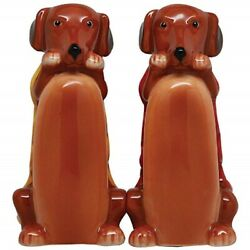 Hot Dogs Salt And Pepper Shakers Set Magnetic Ceramic Dachshund Wiener Dogs