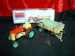 Vintage Tin Wind Up Metal Toy Tractor And Trailer Fr. Czech Republic / With Box