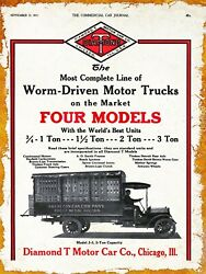 1916 Diamond T Motor Car Co New Metal Sign Chicago Illinois American Can Truck