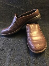 Merrell Tetra Wave Slide Saddle Mule Clogs Brown Leather Size 8.5 Slip On