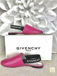 GIVENCHY Rivington Pink Leather Mules Sz 38 Flats Women's Elastic Slip on