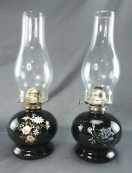 Vintage Pair Lamplight Farms Gloss Black With Flowers And Rose Painted Oil Lamps