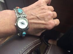 American Indian Cuff Signed Ahasteen Coral And Turquoise
