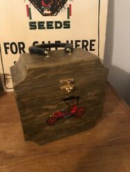 "Large Vintage Handmade Wooden Purse Box Hand Painted Model T Car Super Cute 10"" $25.00"