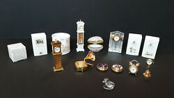 Crystal Memories Figurines Lot Of Mix Set Glass, White, And Faux Gold
