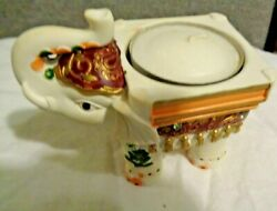 Ivory Colored Poly Resin Good Luck Elephant Tea Light Candle Holders 3 W X 2 T