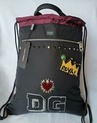 New with Tags! Dolce & Gabbana Designer Patch Drawstring Backpack MSRP $995