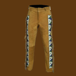 Western Wear Suede Leather Pant Fringes Beads Cowboy American Indian Style Men