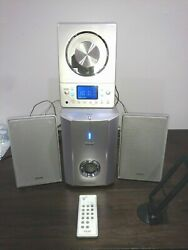 Teac Micro Hi-fi System Cd-x8 Stereo Ultra Thin With Subwoofer And Remote Cables