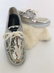 Sperry Top Sider Silver Sperrys Size 7.5