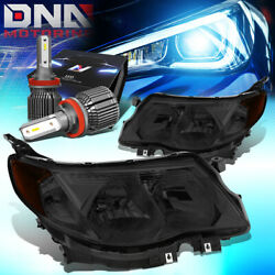 For 2009-2013 Subaru Forester Pair Headlight Lamps W/led Kit+cool Fan Titned