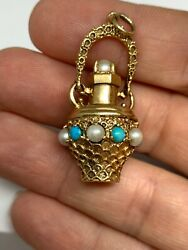 Vintage 14k Gold 3d Etruscan Style Turquoise Pearl Perfume Vase Charm 12.1grams