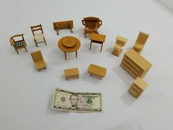Vintage Wooden Dollhouse Furniture Lot 13+ Pieces Intricate Handmade Pieces Nice