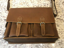 Genuine Leather Messenger Bag for Men 17quot; Laptop Briefcase Certified RFID w... $49.99