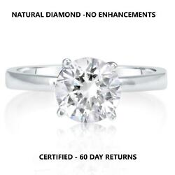 0.90 Carat D Si2 Natural Clarity Diamond Engagement Ring 14k White Gold