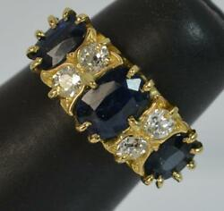 Large Edwardian 18ct Gold Sapphire And Diamond Cluster Ring D0222