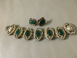 Vintage Antique Chinese Jewelry Link Bracelet And Earring Silver Jadeite Stones