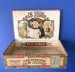 Rarevtg Collectible 1929 Old Judge Wooden Cigar Box Tax Stamp Moehle Litho