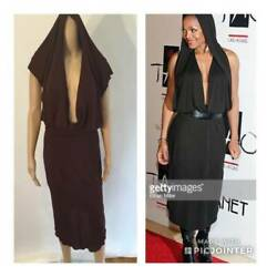Alaia Vintage Sexy Hooded Open Back Dress Size M/s 1980andrsquos