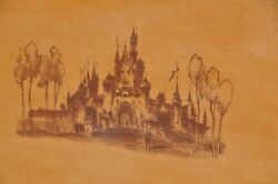 Rare Disneyland Hotel King Size Bed With Etched Burnished Castle
