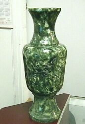 Huge Vintage 21 Tall Green Jade Chinese Vase With Carved Birds 23 Lb