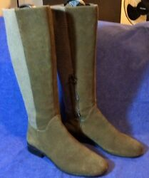 Brown Suede Leather Aetrex Tall Knee Boots Sz 9 / 41 Chelsea Lea Riding