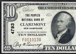 Nh 1929 10 ♚♚claremontnew Hampshire♚♚ Pmg About Unc 55 Epq