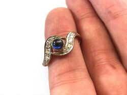 Russian Vintage 14k Rose Gold Ring With Blue Sapphire And Diamonds 0.40 Ct 583