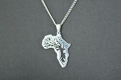 Africa Necklace Pendant Tree of Life Chain Map African Gift Charm Silver