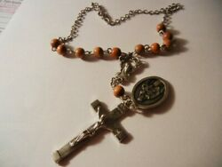 Sacred Heart And Mount Carmel Rear View Mirror Rosary Brown Wood New Free Shipping
