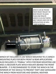 Military Humvee 24v Winch + Front And Rear Mounts -no Drill Install M998 H1 Bumper