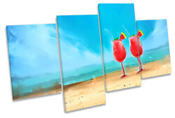 Beach Cocktails Holiday Print Multi Canvas Wall Art Picture