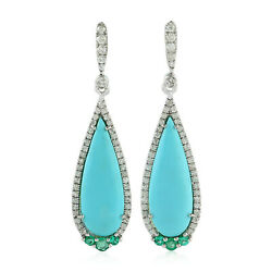 18k White Gold Pave Diamond And Turquoise Dangle Earrings Fine Jewelry
