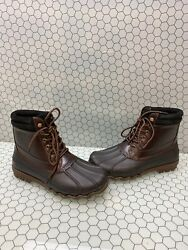 Sperry Top-sider Brown Leather/rubber Waterproof Lace Up Rain Boots Mens Size 7m