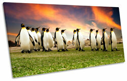 Penguins March Sunset Orange Print Panoramic Canvas Wall Art Picture