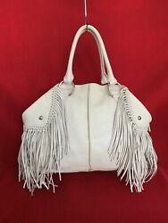 Tods Creme Python Leather Large Handbag With Silver Hardware And Tassels