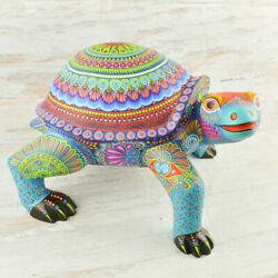 Magia Mexica | A1959 Turtle Alebrije Oaxaca Wood Carving Painting Handcraft
