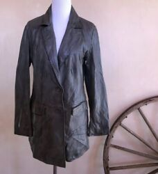 MAURITIUS Soft Gray Green Handpainted Oiled Waxed Leather Jacket Germany 38 NEW!
