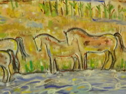 Large Ivan Rane Rio Grande New Mexico Horses Oil On Canvas