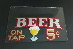 Antique 1900's Beer Sign Glass Hand Painted Bar Advertising Pre Prohibition Era