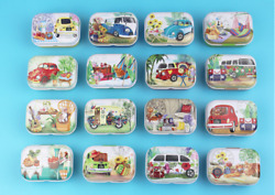 16pcs Empty Tinplate Tin Metal Container Small Storage Collectables Car