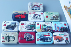 12pcs Empty Tinplate Tin Metal Container Small Storage Collectables Car Cool