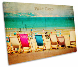 Vintage Postcard Holiday Beach Print Single Canvas Wall Art Picture